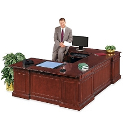 English Cherry Executive U-Desk with Left Bridge, 15063