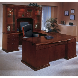 Bow Front U-Shape Desk with Left Return and Hutch, 15818