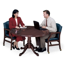 Traditional Mahogany Round Conference Table   48  Diameter   Round Conference Room Tables   Shop Pedestal Tables for Executive  . Meeting Room Table And Chairs. Home Design Ideas
