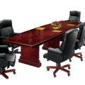 "English Cherry Traditional Boat Shape Conference Table - 144"" x  48"", 40617"