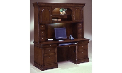Kneehole Credenza with Hutch, 13269