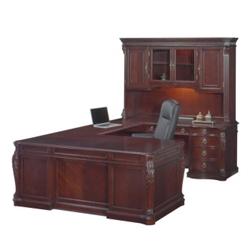 Old-World Right Bridge U-Desk with Hutch, 13100