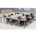 At Work Six Person Compact L-Desk Set in Warm Ash, 14525