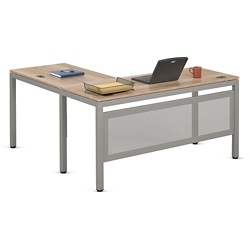 "At Work Compact L-Desk in Warm Ash - 60""W x 60""D, 13904"