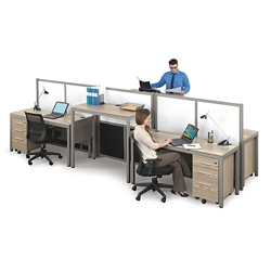 At Work Four Person Station with Dividers, 46448