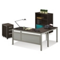 At Work Compact L-Desk with Mobile Pedestal and Bookcase Set, 16056
