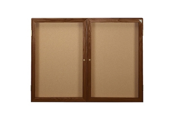 "Indoor Walnut Stain Bulletin Board 48""x36"", 80765"