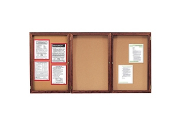 "Indoor Walnut Stain Bulletin Board 72""x48"", 80767"