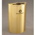 Satin Brass Half Round Mixed Recycling Receptacle with Steel Liner, 87175