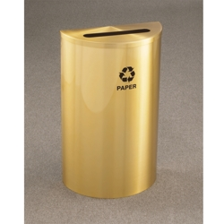 Satin Brass Half Round Paper Recycling Receptacle with Steel Liner, 87178