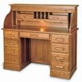 "Double Pedestal Solid Wood Roll Top Desk - 51""W x 22""D, 13285"