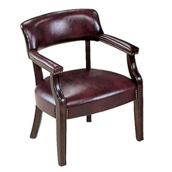 Traditional Leather Guest Chair with Arms, 55266