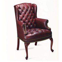 Traditional Vinyl Wing Chair, 55472