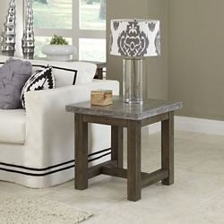"Concrete Top End Table with Wood Frame - 22""W, 76485"