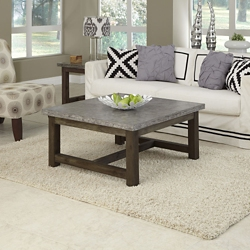 "Concrete Top Coffee Table with Wood Frame - 36""W, 76486"