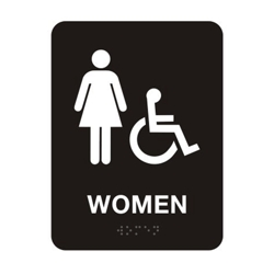 "Womens Handicap Restroom Sign - 6""W x 8""H, 25673"