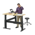 "Stature Adjustable Height Corner L-Desk - 60""W x 60""D, 14235"