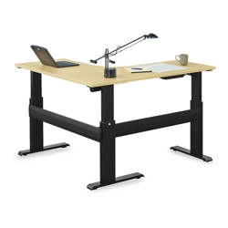 "Stature 72""W Adjustable Height L-Desk with 60""D Right Return, 14539"