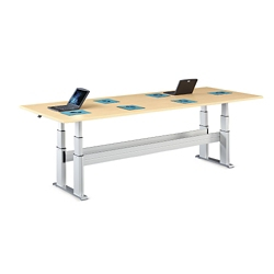 "Meridian Adjustable Height Rectangular Conference Table - 120""W x 48""D, 46114"