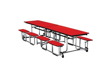 "Fold and Roll Split-Bench Table with Chrome Frame 30"" W x 144"" L, 46671"