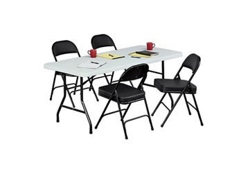 "Lightweight Folding Table - 30"" D x 72"" W with Four Chairs, 86411"