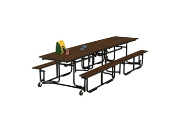 Cafeteria Table 10' long with Bench Seating, 44719