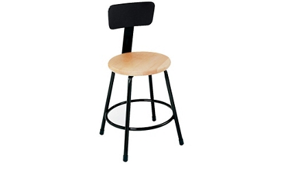 "Stool Wood Seat 18"" with Backrest, 55627"