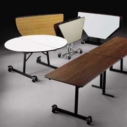 "Round Black Frame Mobile Folding Table- 60""Dia, 41377"