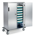 "33""W x 27""D Compact Enclosed 10 Tray Delivery Cart with One Door, 25307"