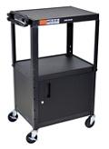 Adjustable Height Steel AV Cart with Cabinet, 43202