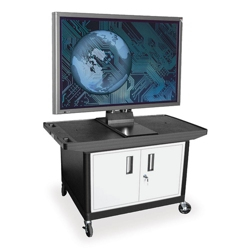 "Flat Panel TV Cart with Reinforced Shelf and Locking Cabinet - 27"" H, 43209"