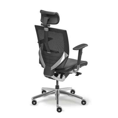 arris highback mesh chair with memory foam leather seat