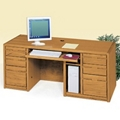"Medium Oak Computer Desk - 68.25""W, 10913"