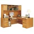 "Medium Oak L-Desk with Left Return and Hutch - 68.25""W, 13085"