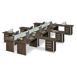 Metropolitan Six L-Desk Benching Set, 13838
