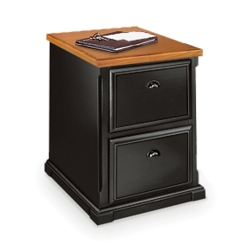 Distressed Black and Oak Two Drawer Vertical File, 15226
