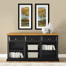 Distressed Black and Oak Open Credenza, 15227