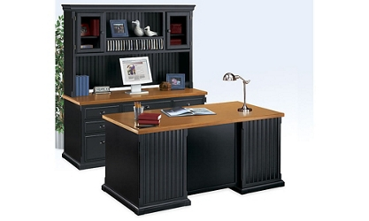 Distressed Black and Oak Complete Desk Group, 15228