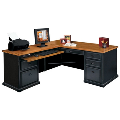 Attractive Black And Oak L Desk With Left Return, 15229
