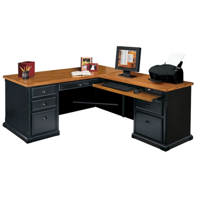 Black And Oak L Desk With Right Return, 15230