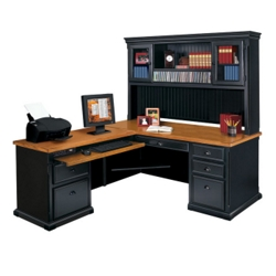Black and Oak Left Return L-Desk with Hutch, 15237