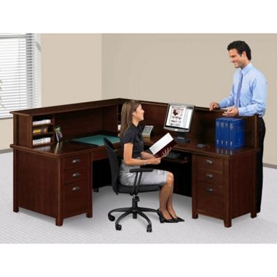 Right Return Reception L Desk With Counter, 15762