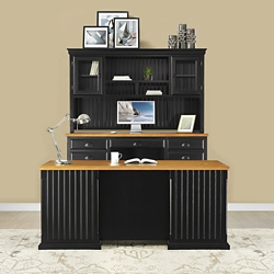Distressed Black with Oak Complete Desk Group, 16012