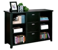 "60"" W Three Drawer File and Bookcase in Distressed Finish, 31584"
