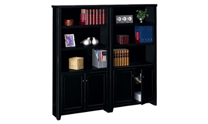 "70"" H 10 Shelf Bookcase with Doors Set in a Distressed Finish, 32744"