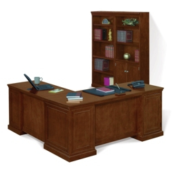 Statesman Executive L-Desk with Bookcase Set, 86198