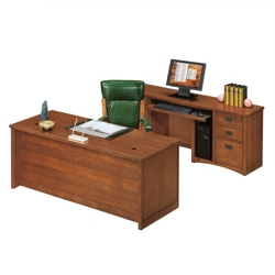 Mission Oak Executive Desk and Credenza Set, 86185