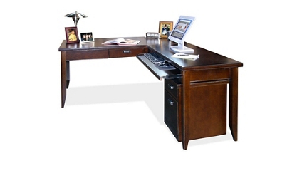 Fully Reversible L-Desk with Rolling File, 15672