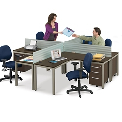 At Work Four Person Compact Workstation Set, 46449
