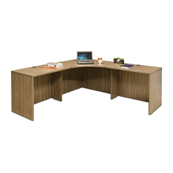 "Wood Grain Corner Desk - 77.5""W, 14291"